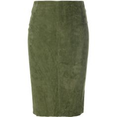 Drome panelled pencil skirt (58.320 RUB) ❤ liked on Polyvore featuring skirts, green, green leather skirt, panel skirt, leather panel skirt, knee length leather skirt and green skirt