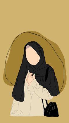 Cartoon Girl Drawing, Cartoon Art, Girl Cartoon, Cartoon Drawings, People Illustration, Digital Illustration, Couple Hijab, Cover Wattpad, Islamic Cartoon