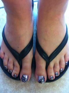 Lavender Zebra Rock Star Toes