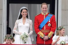The Duke and Duchess of Cambridge appear on the balcony of Buckingham Palace with two young members of their wedding party. Grace Van Cutsem (left) is the daughter of Hugh Van Cutsem, a friend of William's, and The Honourable Margarita Armstrong-Jones (right) is the daughter of David Armstrong-Jones, Viscount Linley, William's second cousin, and the granddaughter of the late Princess Margaret.