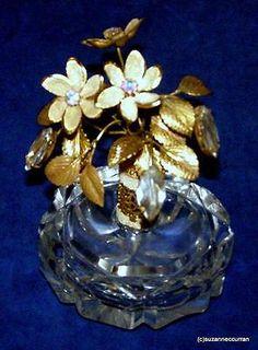 Vintage-Large-Cut-Glass-Perfume-Bottle-w-Huge-Floral-Rhinestone-amp-Coralene-Top