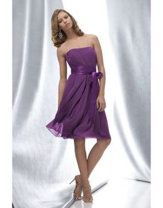 Ruched Satin Sash Strapless Knee Length Purple Bridesmaid Dress