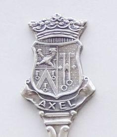 Collector Souvenir Spoon Netherlands Axel Zeeland Coat of Arms Embossed Emblem