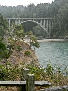 The Bridge at Russian Gulch where the Russian River enters the Pacific in Mendocino County, California.