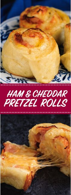 Ham and Cheddar Pretzel Rolls - Soft and fluffy pretzel rolls filled with ham and cheddar cheese - the perfect on the go meal or snack!