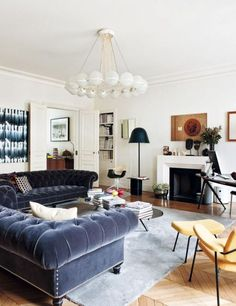 Living Room Ideas Black Furniture Tv Wall Design 70 Best Sofa Images A Refined Parisian Apartment Pair Of Velvet Chesterfields Sets Off The Luxurious Vibe In