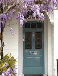 Victorian Front Doors are extremely popular, at London Door Company we have been handcrafting high quality doors for over 30 years. Front Gardens, Front Door Colors, House Front, Purple Front Doors, Front Garden, Victorian Front Doors, Victorian Terrace, Front Door Entrance, Doors