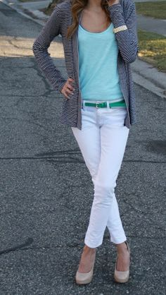 Turquoise top, white pants, nude heels, comfy sweater and a bright belt.