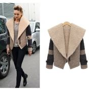 $26.99 New Style V Neck Long Sleeve Zipper Beige Regular Coat