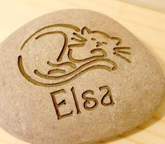Engraved Cat Memorial Customized Palm Size Stone by sjengraving