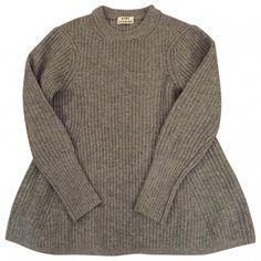PULLOVER GREY DIXIE WOOL ACNE (10.235 CLP) ❤ liked on Polyvore featuring tops, sweaters, dresses, jumpers, grey sweater, gray jumper, grey jumper, sweater pullover and woolen sweaters