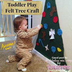 Toddler Play Felt Tree Craft   www.crazyadventuresinparenting.com   #craft #toddler #felt #tree #christmas #holidays #tutorial