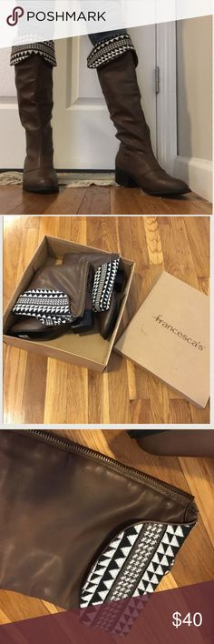 🎉NEW YEARS SALE🎉Francesca Foldover Boot Never been worn boots from Francesca's. New in the box. The boots have a fold over top with a tribal-like design. The interior is a very comfy neoprene type fabric that hug your calf. Zip up closure. SMOKE FREE HOME. If you want to see more pictures or have question feel free to ask! NO TRADES OR OFFERS. SALE PRICE IS FIRM! Francesca's Collections Shoes Over the Knee Boots