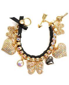 Betsey Johnson Bracelet, Pave Crystal Heart and Bow Bracelet