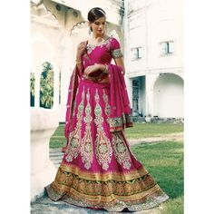 Magenta Heavy Embroidered Lehenga Choli