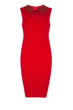 Get The Look: Embellish: Red dress with sequin embellishment on the collar