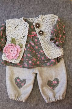 Waldorf Girl Doll Clothes - Trousers, Blouse Sweater, fit 15,16 inch dolls beige-pink-green on Etsy, $56.98 CAD: