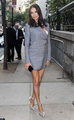 3142282e84 Adriana Lima Wore an Asymmetrical Blazer Dress