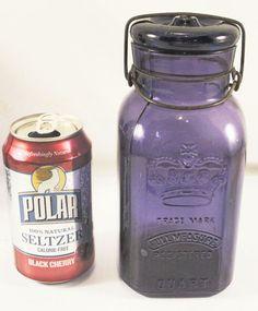 1896 A.C. Smalley ROYAL 1 Quart Purple Fruit Jar & Lid