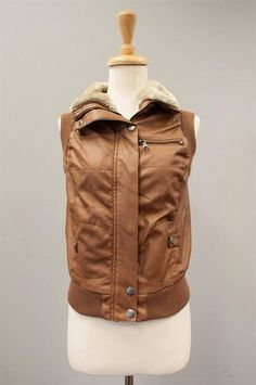 Camel faux leather vest with fur collar