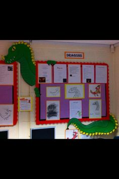 Dragon display at work by jordan Teaching Displays, School Displays, Library Displays, Classroom Displays, Classroom Decor, Teaching Ideas, Knights And Castles Topic, Castle Theme Classroom, Elementary Classroom Themes
