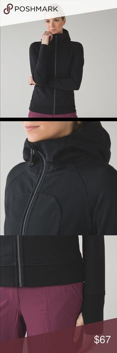 Lululemon Scuba III zip up hoodie in black Incredible quality. Cotton front zip hoodie. Black. Large hood. Thumb holes for extra comfort and fit. Excellent condition, only worn a handful of times because I ordered the wrong size. Hoodie is size 6 lululemon athletica Tops Sweatshirts & Hoodies