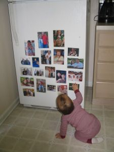 Homemade Toy: Family Photo Magnets - great for showing far away family. We so have to do this (our closest family is 6 hours away!)