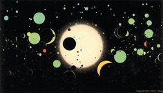 A still from the planetary astronomer Alex Parker's animated film Worlds: The Kepler Planet Candidates (2013), which depicts 2,299 possible planets detected by NASA's Kepler orbiting space telescope. Parker shows them as orbiting a single star; as Michael Benson points out in Cosmigraphics, in fact they orbit a total of 1,770 stars.