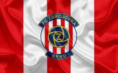 Lataa kuva Zbrojovka, Football Club, Brno, Tšekin Tasavalta, tunnus, Zbrojovka logo, punainen silkki lippu, Tšekin Tasavallan Mestaruuskilpailut