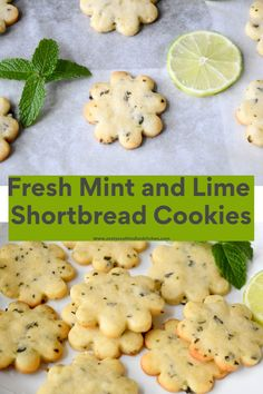 Fresh Mint and Lime Shortbread Cookies - Zesty South Indian Kitchen Mint Chocolate Chip Cookies, Mint Cookies, Cupcake Cookies, Mint Leaves Recipe, Fresh Mint Leaves, Herb Recipes, Fun Recipes, Gluten Free Recipes, Delicious Recipes