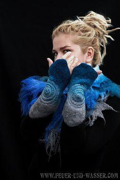 Felted Cuffs Felted gloves wool fingerless by FeuerUndWasser