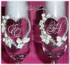 """Купить Свадебные бокалы """"Влюбленные сердца"""" - свадебные бокалы, бокалы для…"""