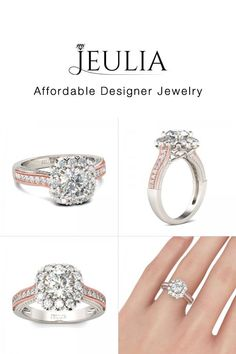 Jeulia Two Tone Halo Round Cut Created White Sapphire Engagement Ring - Jeulia Jewelry