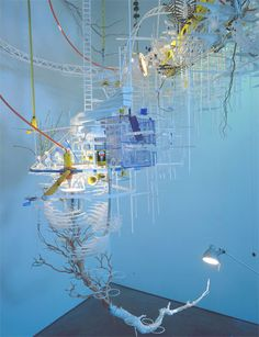 Sarah Sze (American), Boesky 01 -builds her installations and intricate sculptures from the minutiae of everyday life, imbuing mundane materials, marks, and processes with surprising significance -she builds her works, fractal-like, on an architectural scale -balance whimsy with ecological themes of interconnectivity and sustainability -patchwork compositions seem to mirror the improvisational quality of cities, labor, and everyday life (Text from PBS Art 21)