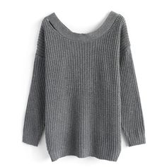 Chicwish Enchanted Cross Back Sweater ($56) ❤ liked on Polyvore featuring tops, sweaters, grey, gray top, cut out sweater, cut-out sweaters, stretch top and grey striped sweater
