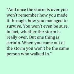 except that the storm will NEVER be over...