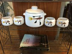 Vintage Westbend bean pot set. Available at Mid Mod Collective. Email midmodcollective@gmail.com for more info.