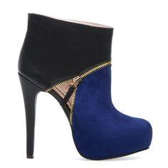 Black & Blue Bootie Heel.