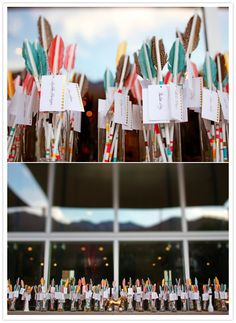 Colorful Feather Escort Cards