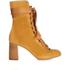 Harper lace-up suede ankle boots Chloé MATCHESFASHION.COM (10.250 RON) ❤ liked on Polyvore featuring shoes, boots, ankle booties, lace up ankle booties, short boots, lace up ankle boots, mid-calf boots and lace up booties