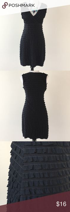 """Cute Black Dress w/Ruffles The fabric had stretch to it. Size is a petite M but runs big I think. Dress form measurements are 34-27-36 and dress is a little loose on form. L=18"""". Susan Lawrence Dresses"""