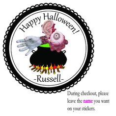 Personalized Stickers Halloween Spooky, Scary Gross Parts Birthday Party Favors #HalloweenSpookyCandyCornBatHatWitches #Halloween