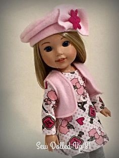Paris in Pink for 14 inch dolls Sewing Doll Clothes, Sewing Dolls, Ag Dolls, Girl Doll Clothes, Doll Clothes Patterns, New American Girl Doll, American Doll Clothes, Boy Doll, Girl Dolls