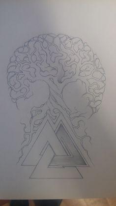 #yggdrasil #valknut #tattoo #treeoflife Drawing for tattoo yggdrasil (tree of life)with valnknut