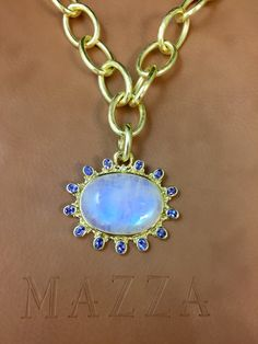 Moonstone with Tanzananite 18k gold handmade pendant