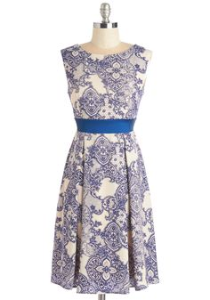 Twirl is On My Mind Dress. Youve got shimmying on the brain and your eyes on the prize as you head straight for the dance floor in this blue-and-cream-hued dress - available in March. #blue #modcloth