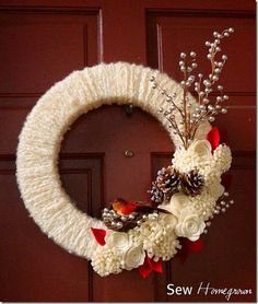 white yarn wrapped wreath with red felt flowers - Google Search
