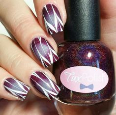 white matte detailing over plum based irridescent undercoat Pure Color 7 water marble tool from @whatsupnails whatsupnails.com