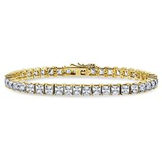 BERRICLE Yellow Gold Plated Sterling Silver Tennis Bracelet Made with Swarovski Zirconia 65 *** You can get more details by clicking on the image.