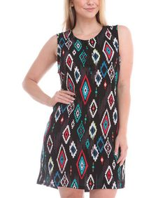 20 Look what I found on #zulily! Black & Teal Diamond Sleeveless Dress - Plus #zulilyfinds